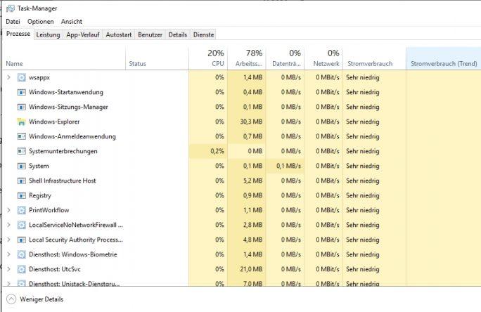 Anzeigen des Energieverbrauchs von Diensten, Anwendungen und Prozessen (Screenshot: Thomas Joos).