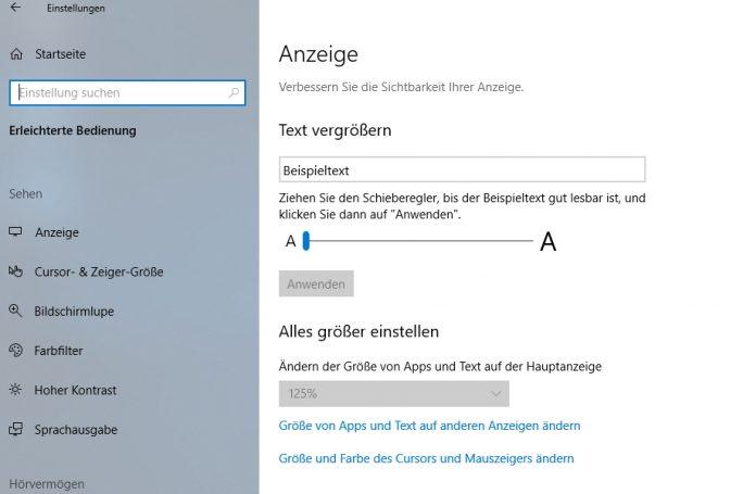 Anpassen der Textgröße in Windows 10 (Screenshot: Thomas Joos).