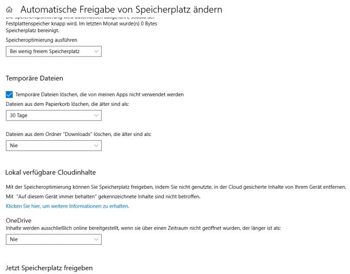 Storage Sense wird in Windows 10 Version 1809 erweitert (Screenshot: Thomas Joos).