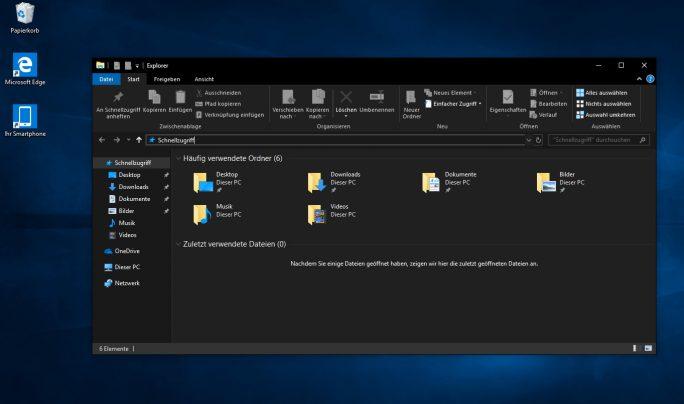 Windows 10 Version1809 verfügt auch über ein neues, dunkles Theme (Screenshot: Thomas Joos).