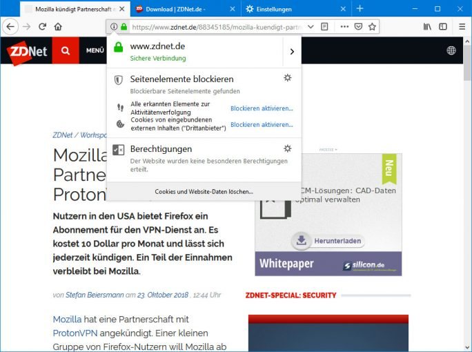 Firefox 63: Trackingschutz (Screenshot: ZDNet.de)