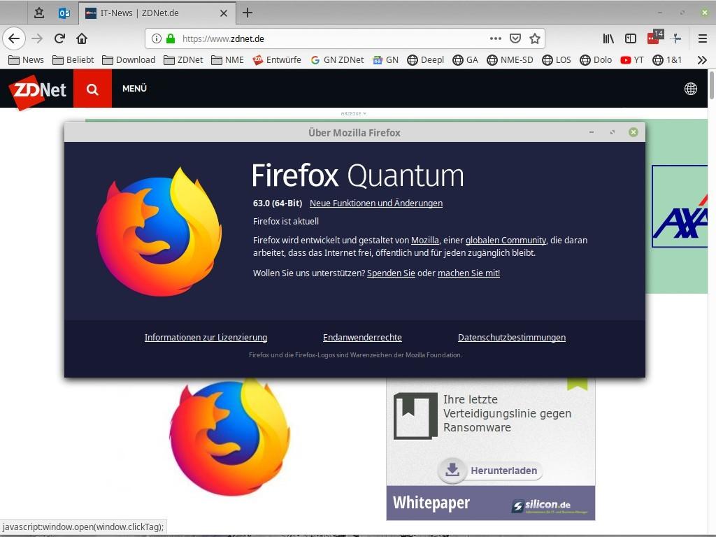 Firefox 63 mit Performance-Verbesserung und Dark-Mode-Unterstützung für Windows 10