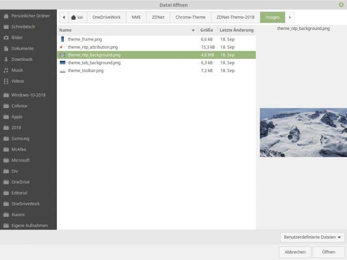 Theme Beta: Hintergrund für Neue-Tab-Seite hochladen (Screenshot: ZDNet.de)