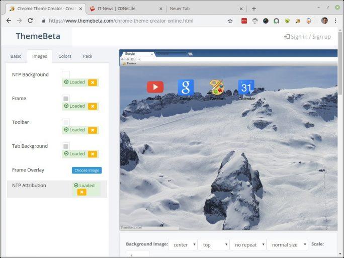 Theme Beta: Nun sind alle Bilder hochgeladen. Das veränderte Design zeigt sich im Vorschaufenster (Screenshot: ZDNet.de)