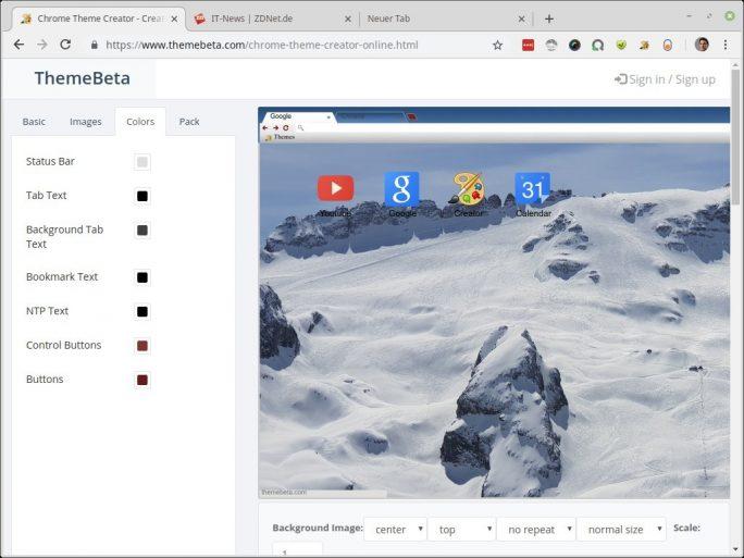 Theme Beta: Farben für Schrift und Schalter definieren (Screenshot: ZDNet.de)