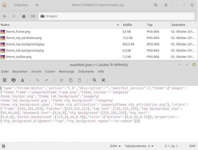 Chrome Theme: CRX in ZIP umbennen und Inhalt überprüfen (Screenshot: ZDNet.de)