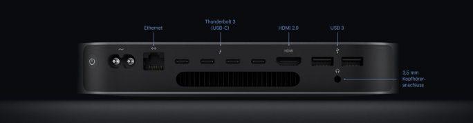 Mac mini : Anschlüsse (Bild: Apple)