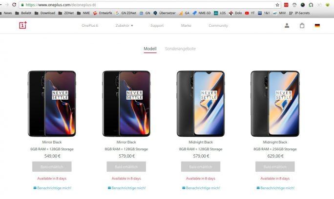 OnePlus 6T : Preise (Screenshot: ZDNet.de)