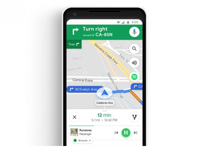 Spotify-Steuerung in Maps (Bild: Google)
