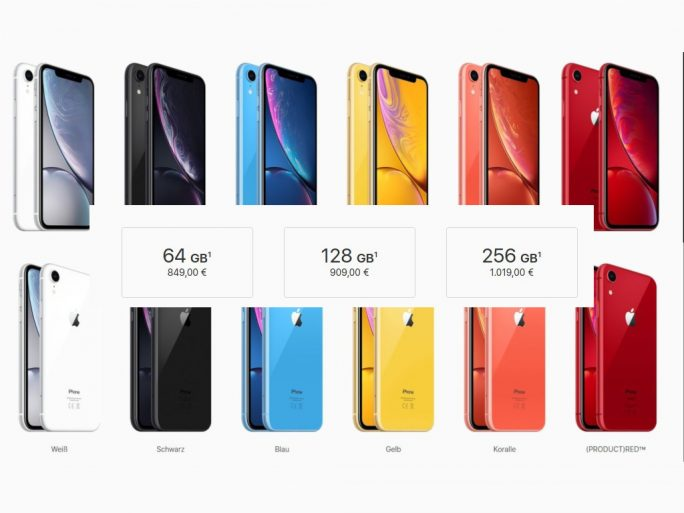 iPhone XR: Modelle (Screenshot: ZDNet.de)