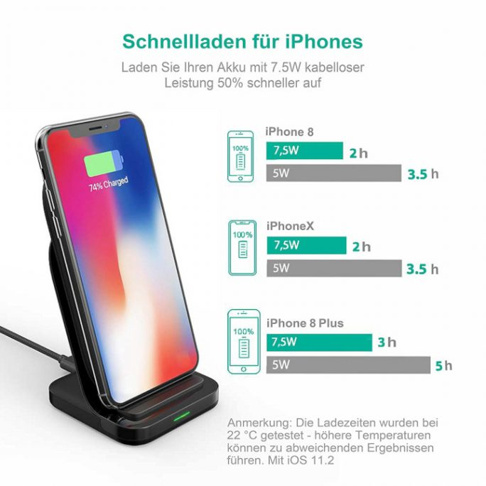 iPhone XR/XS mit QI-Ladestation laden (Bild: Ravpower)