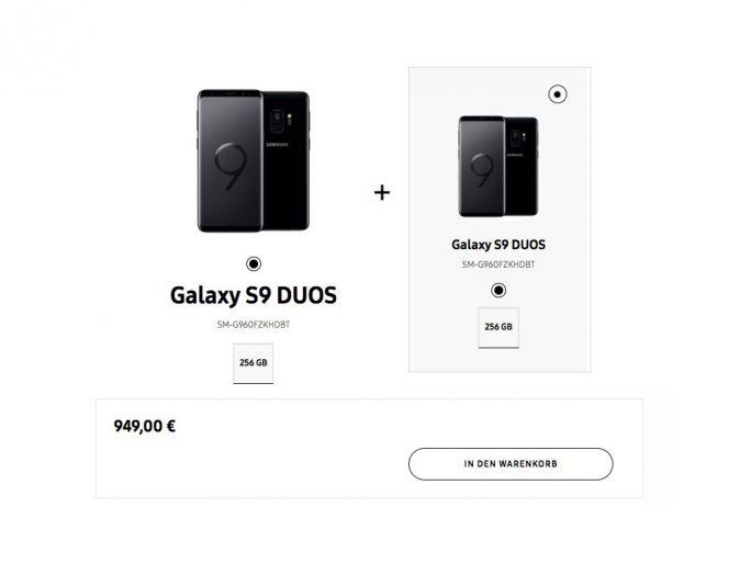 Zwei Galaxy S9 mit 256 GByte für 949 Euro (Screenshot: ZDNet.de)