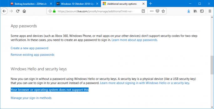 Chrome und Firefox werden nicht unterstützt (Screenshot: ZDNetde)