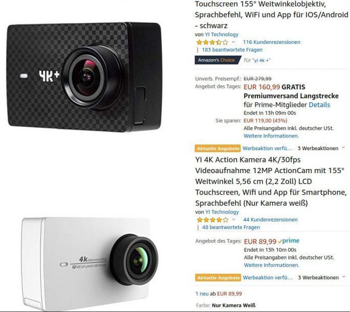 Actionkamera YI 4K und YI 4K+ im Angebot (Screenshot: ZDNet.de)