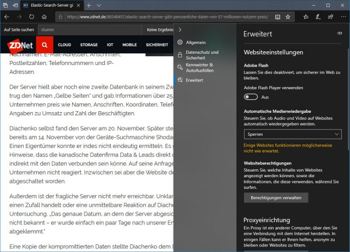 Edge: Automatische Medienwiedergabe sperren (Screenshot: ZDNet.de)