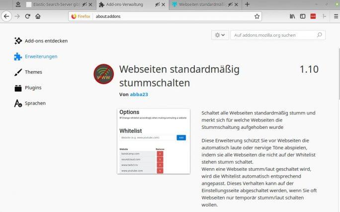 Firefox: Add-On Webseiten standardmäßig stummschalten (Screenshot: ZDNet.de)
