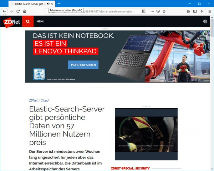 Firefox: Tab stummschalten (Screenshot: ZDNet.de)