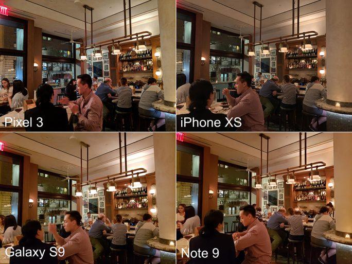 Pixel 3 im Vergleich zum Mitbewerb (Bild: Linn La, CNET)