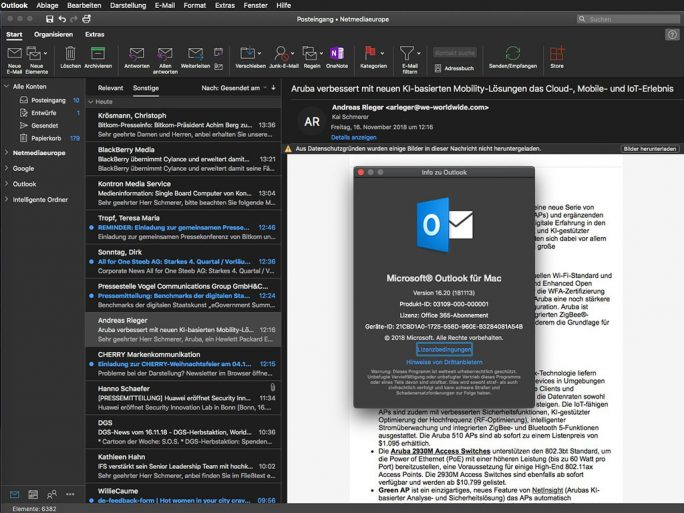 Outlook 16.20: Dark Mode unter macOS 10.14 Mojave (Screenshot: ZDNet.de)