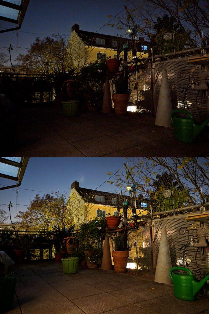 Pixel 3: Normalaufnahme und Nachtsichtaufnahme (Bild: ZDNet.de)