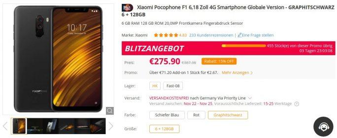 Pocopophone F1 für 276 Euro (Screenshot: ZDNet.de)