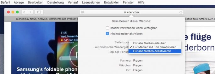 Safari Automatische Medienwiedergabe mit rechtem Mausklick auf Adresse konfigurieren (Screenshot: ZDNet.de)