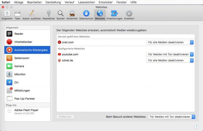 Safari: Automatische Medienwiedergabe unter Einstellungen - Websites konfigurieren (Screenshot: ZDNet.de)
