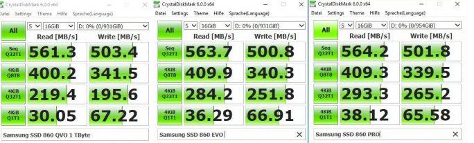Samsung SSD 860 QVO im Vergleich zur 860 EVO und 860 PRO (Bild: ZDNet.de)