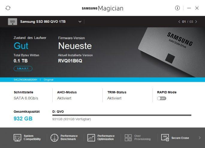 Samsung Magician: SSD 860 QVO (Screenshot: ZDNet.de)