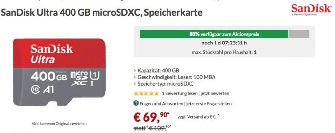 Sandisk 400 GB für 70 Euro bei Alternate (Screenshot: ZDNet.de)