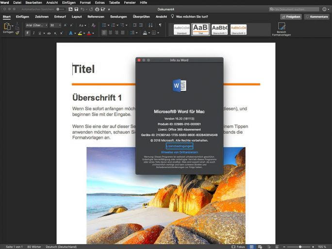 Word 16.20: Dark Mode unter macOS 10.14 Mojave (Screenshot: ZDNet.de)
