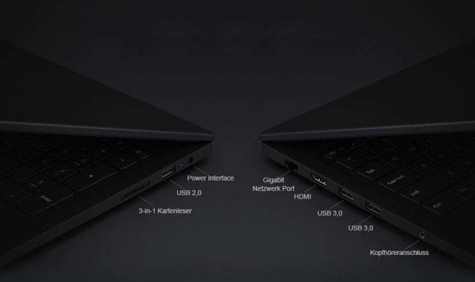 Xiaomi Mi Notebook Ruby: Schnittstellen (Bild: Xiaomi)
