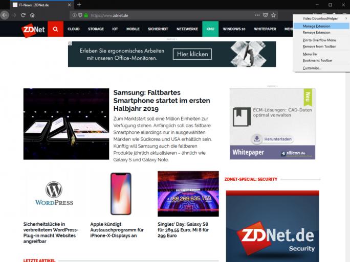 Kontextmenü von Erweiterungen (Screenshot: ZDNet.de)