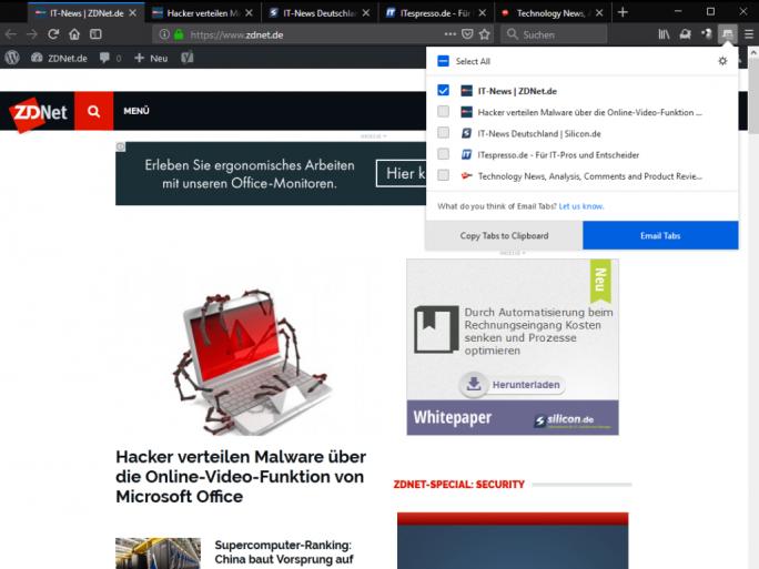 Email-Tabs (Screenshot: ZDNet.de)