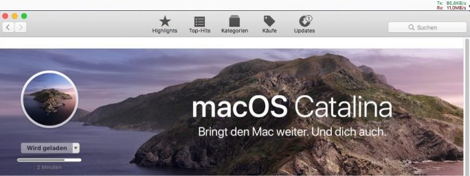 macOS Catalina 10.15: Download mit macOS Sierra 10.12 (Screenshot: ZDNet.de).