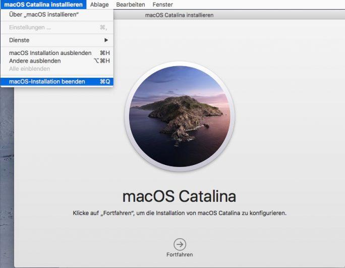 macOS Catalina 10.15: Setup-Programm beenden (Screenshot: ZDNet.de).