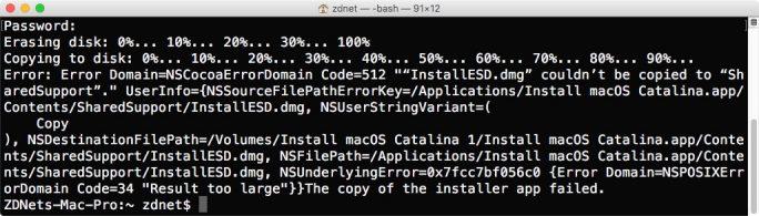 macOS Catalina 10.15: Ein 8-GByte-Stick bietet für den Boot-Stick auf Basis von macOS Catalina 10.15 nicht genügend Speicherplatz, sodass die Erstellung nicht gelingt (Screenshot: ZDNet.de).