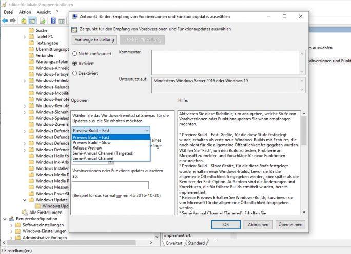 Einstellen der Installation von Funktionsupdates über Gruppenrichtlinien (Screenshot: Thomas Joos).