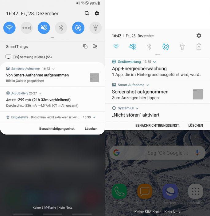 One UI vs. Experience: Benachrichtigungen (Bild: ZDNet.de)