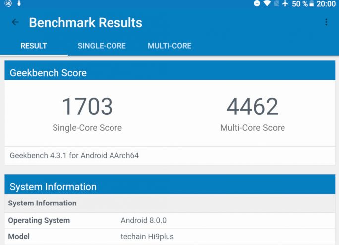 Chuwi Hi9 Plus: Geekbench (Screenshot: ZDNet.de)
