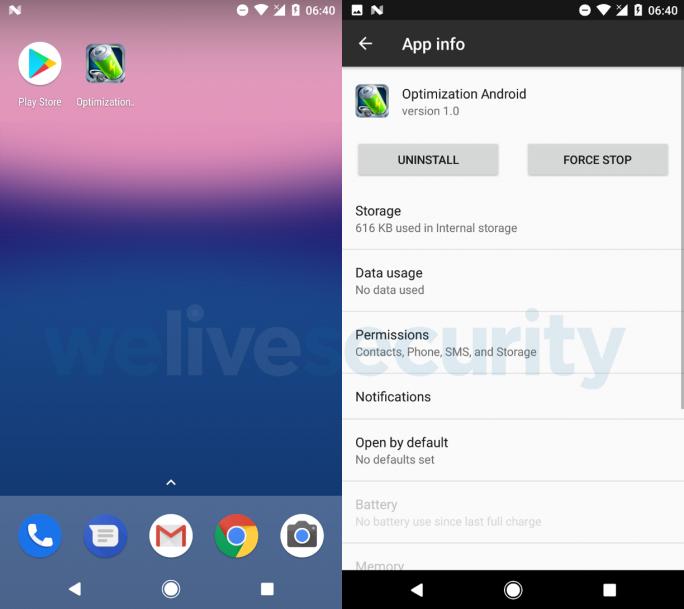 Eset: Optimization Android plündert Paypal-Konten (Bild: Eset).