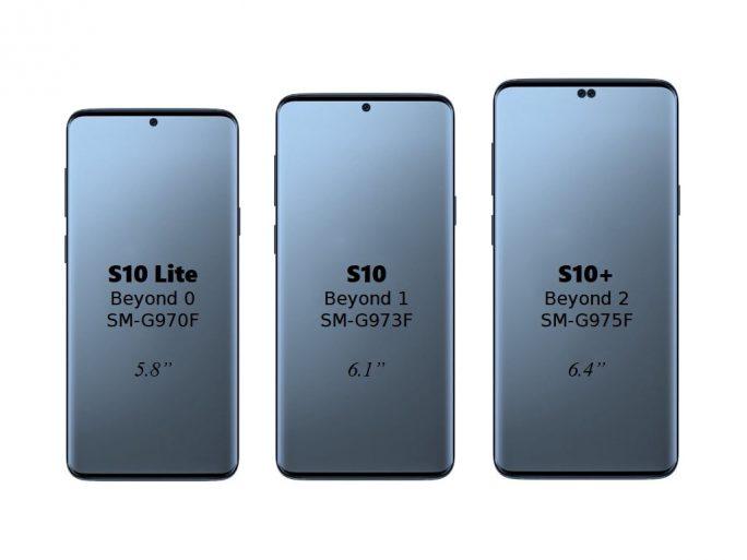 Nach Informationen eines nicht näher bezeichneten Hüllen-Herstellers könnten so die Galaxy-S10-Varianten aussehen (Bild: Evan Blass)