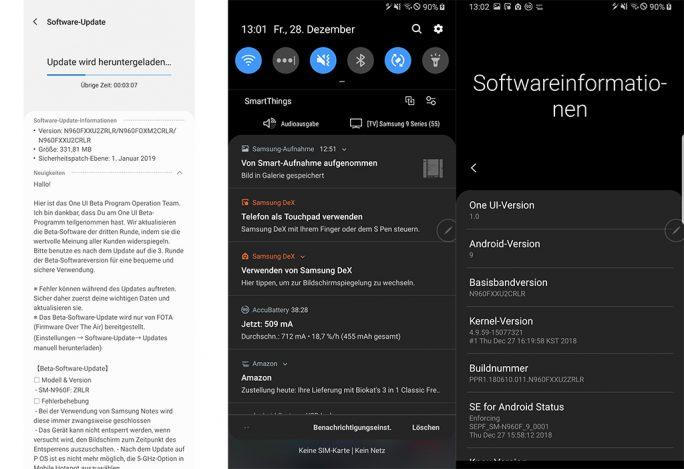 Galaxy Note 9: Android 9 Beta 3 (Bild: ZDNet.de)