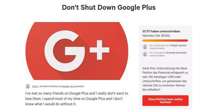 Google+-Petition: Nutzer wollen Einstellung verhindern (Screenshot: ZDNet.de)