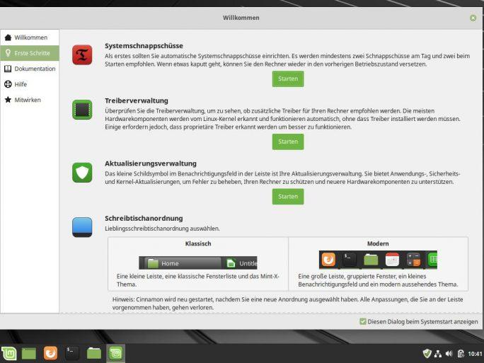 Linux Mint 19.1 Tessa: Willkommen - Erste Schritte (Bild: ZDNet.de)