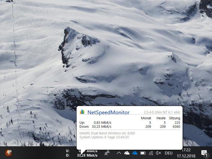 NetSpeedMonitor informiert über den aktuellen Datenverkehr (Screenshot: ZDNet.de, Klick für größere Ansicht)