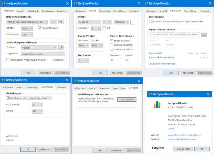 NetSpeedMonitor: Einstellungen (Screenshot: ZDNet.de, Klick für größere Ansicht)