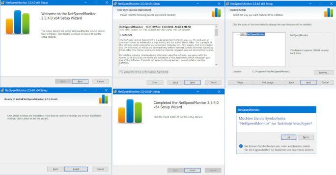 NetSpeedMonitor: Installation und Bestätigung zur Integration in der Taskleiste (Screenshot: ZDNet.de, Klick für größere Ansicht)