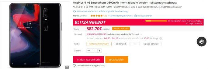 OnePlus 6 für 382 Euro (Screenshot: ZDNet.de)