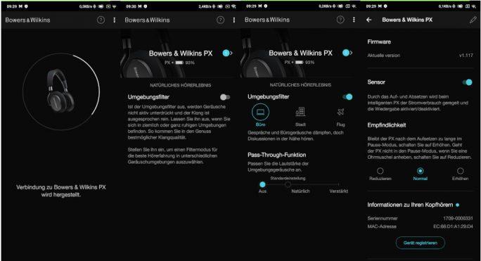 Bowers & Wilkins PX: Umgebungsfilter und Sensorsteuerung (Screenshot: ZDNet.de)